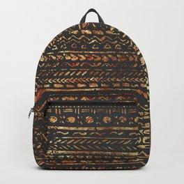 Modern Dark Brown Copper Tribal Ethnic Pattern Backpack