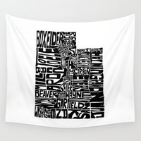 utah Wall Tapestries featuring Typographic Utah by CAPow!