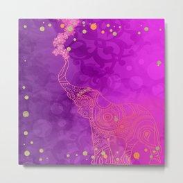 Pink Purple & Gold Good Luck Elephant Metal Print