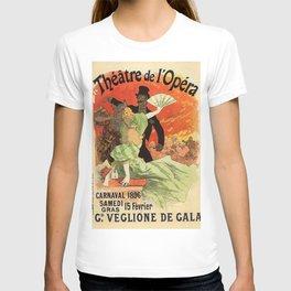Th Tre De L Op Ra Carnaval 1896 Grand Veglione De Gala 1896 By Jules Cheret | Reproduction Art Nouve T-shirt