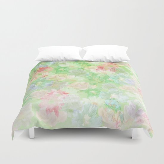 Mint Green Spring Floral Abstract Duvet Cover