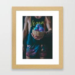 Vegan Unicorn Ice Cream Bowl Framed Art Print
