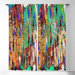 abstract coloured line and geometric shapes Blackout Curtain