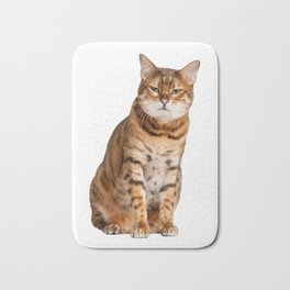 Cat looking annoyed and slightly grumpy Bath Mat