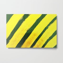 Abstract yellow stripeshand painted on green illustration background Metal Print