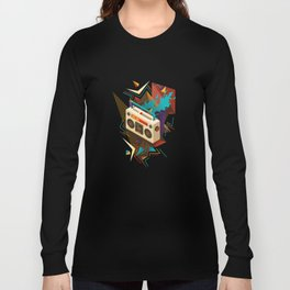 Bust Out The Jams Retro 80s Boombox Splash Long Sleeve T-shirt