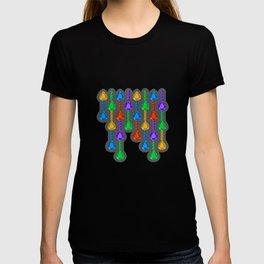 Colorful jewel stones in jewel tones rain curtain dark T-shirt