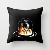 tomb raider Throw Pillows featuring Survivalist Laura Croft Tomb Raider by Christophajay
