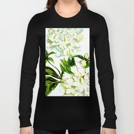 White Peonies in watercolor Long Sleeve T-shirt