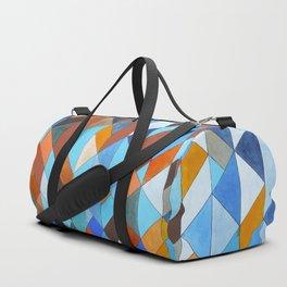 Triangle Pattern no.18 blue and orange Duffle Bag