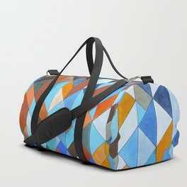 Triangle Pattern no.18 blue and orange Duffle Bag