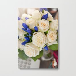 Ecru roses wedding bouquet Metal Print