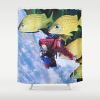 skiing Shower Curtains featuring Water Skiing by John Turck
