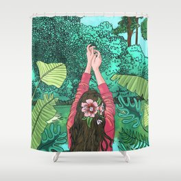 Comic Book Jungle Shower Curtain