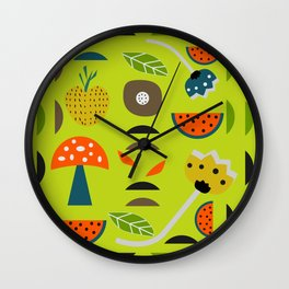 Modern decor with fruits and flowers Wall Clock