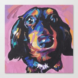 Dachshund Dog bright colorful Doxie Portrait Pop Art Painting by LEA Canvas Print