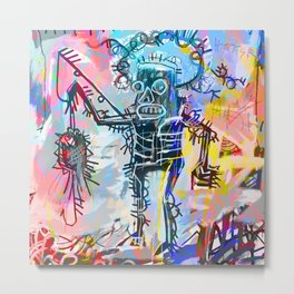 A digitally and roughly vectorised Jean Michel Basquiat Metal Print