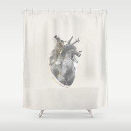 golden polygon heart Shower Curtain