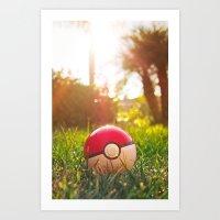 pokeball Art Prints featuring Pokeball by Nima Nakhshab