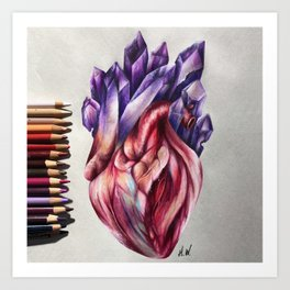 """Crystal Heart"" Drawing Art Print"