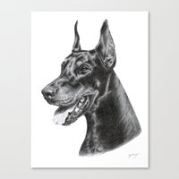 doberman Canvas Prints featuring Doberman by Danguole Serstinskaja
