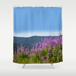 The Lupines in the Hills Shower Curtain