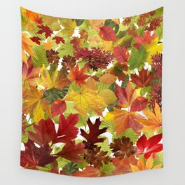 Autumn Fall Leaves Wall Tapestry