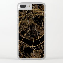 Black and gold Seoul map Clear iPhone Case