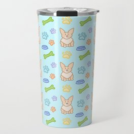 Cute Corgi Pattern (Light Teal Background) Travel Mug