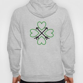 St. Patrick's Day Shamrock Lucky Charm Green Clover Veart with Arrows Hoody