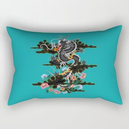 Dragon in Clouds with Peonies Motif Rectangular Pillow