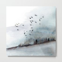 Foggy forest with birds watercolor landscape, texture in nordic style Metal Print