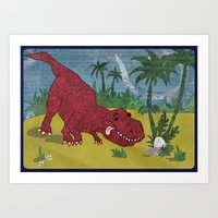 trex Art Prints featuring Trex-tra Cuddly by lindsey salles