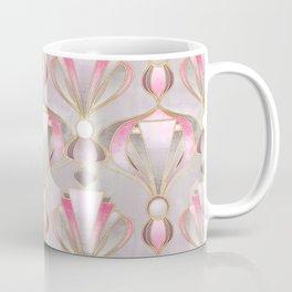 Rose Pink, Grey and Gold Art Deco Coffee Mug