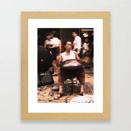 pan drum player Framed Art Print