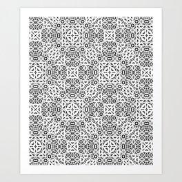 Black and White Oriental Ornate Art Print
