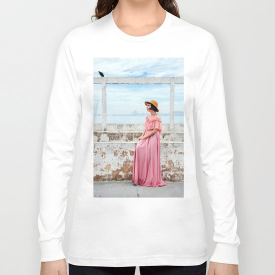 Woman in pink Long Sleeve T-shirt