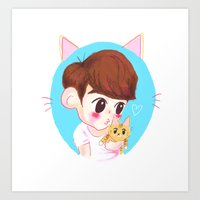shinee Art Prints featuring SHINee cat by sophillustration