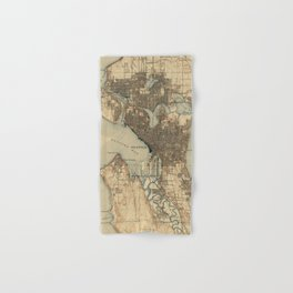 Vintage Map of Seattle Washington (1908) 2 Hand & Bath Towel