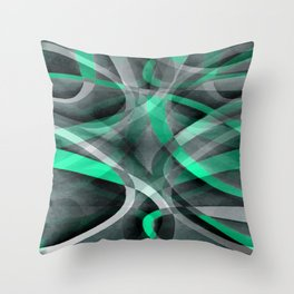 Eighties Snazzy Aqua and Grey Curved Line Pattern Throw Pillow