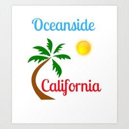 Oceanside California Palm Tree and Sun Art Print