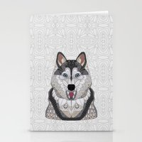 husky Stationery Cards featuring Happy Husky by ArtLovePassion