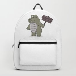 hippopotamus with happy hour sign Backpack