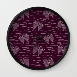 Sea Otters on Dark Raspberry Wall Clock