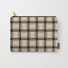 Large Bisque Brown Weave Carry-All Pouch