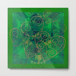Golden Filigree Hearts on Green Abstract Metal Print