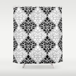 Scroll Damask Pattern BWG Shower Curtain