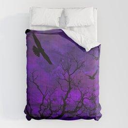 Purple Gothic Moon Comforters