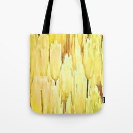 Pale Yellow Tulips Abstract Floral Pattern Tote Bag