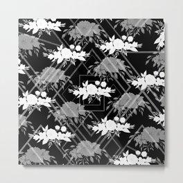 Geometrical modern black white floral pattern Metal Print